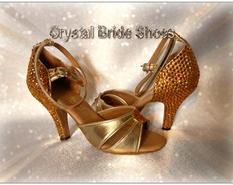 Dance shoes by International Dance Shoes, UK 2.5, customised with gold crystals.
