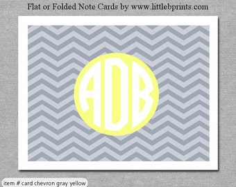 Gray Yellow Chevron Monogram Note Cards Set of 10 personalized flat or folded cards