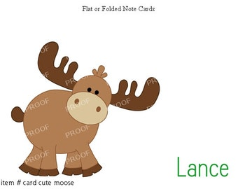 Moose Note Cards Set of 10 personalized flat or folded cards