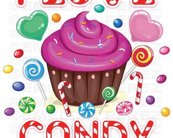 I Love Candy Vector Digital Graphic Clipart