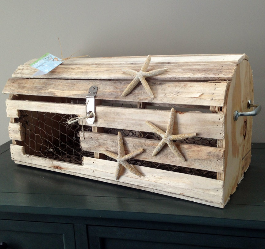 Reclaimed Wood Maine Lobster Trap Card Box Custom Nautical