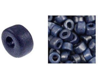 100 Mykonos Mini Tubes, 6mm X 4mm Navy Blue Ceramic Spacer Beads  (SKU#CT1#42)