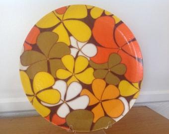 Vintage Mod Flower Fiberglass Tray