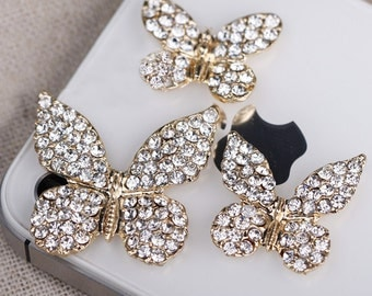 3 Peces Set Butterflies Flat Back Alloy Rhinestone Bling Bling Decoden Piece for Craft