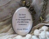 Oscar Wilde quote pendant,  Oscar Wilde word necklace, book lover jewelry