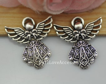 10pcs 23x26mm Smaller Antique Silver Angel Wing Charms Pendants, Angel with Wings Charms Pendant