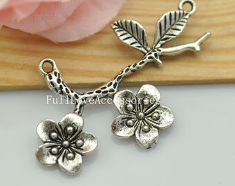 5pcs Antique Silver Plum Blossom Flower Charms Connector 34X53mm Antique Silver Wintersweet Charms Pendant