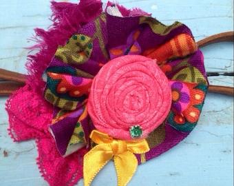 Purple, Green, Pink, Orange, Girls Headband, Fabric Flower Hair Bow, Ruffled Rosettes, Lace Headband, Toddler Headband, Infant Hair Bow