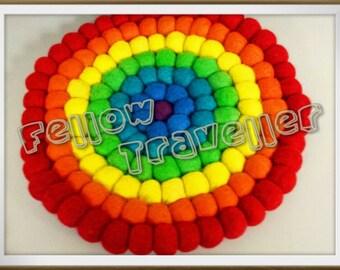 OOAK Needle Felted Large Rainbow Coaster - Ready to ship
