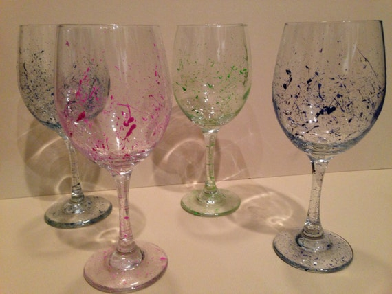 paint splatter wine glasses