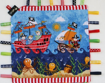 Taggie Baby Comforter Blankie - tactile sensory security blanket for busy little hands - soft minky backing Pirate ships