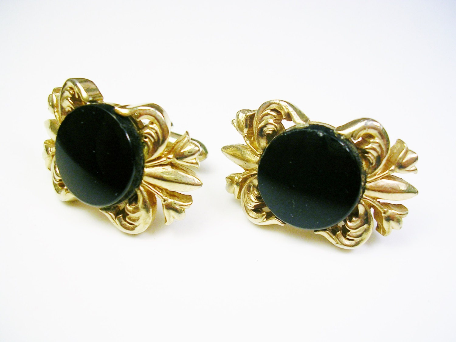 Vintage swank cufflinks gold tone black front wedding for What is swank jewelry