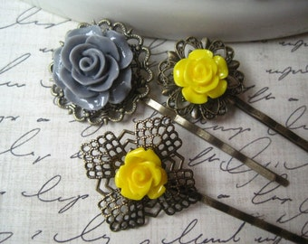 Flower Bobby Pin Set, Yellow and Gray Flowers, Pretty Flower Hairpin, Prom Hair Accessory, Bridesmaid Gift, Vintage Style Accessory