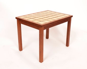 Teak Side Table with Tile Top Night Stand Danish Modern 60s