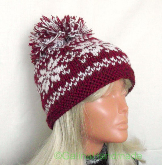 Knitted Sweater Patterns Free : Christmas Adult Snowflake Winter Knit Hat With Pom Pom Red