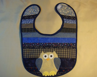 Blue baby bib with owl-size small