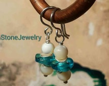 Sea Blue Czech Glass Ivory Mother of Pearl Glass and Stone Silver Earrings