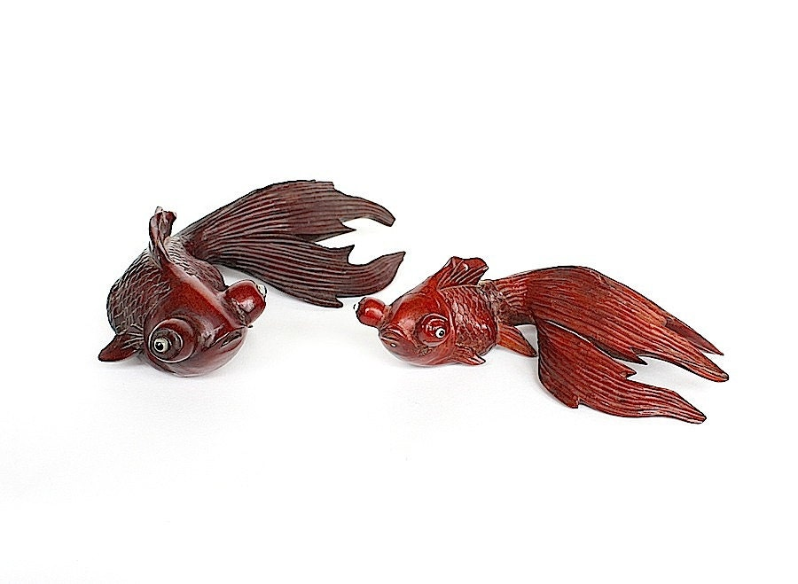 Koi fish goldfish figurines hand carved wood figurines for Koi fish figurines