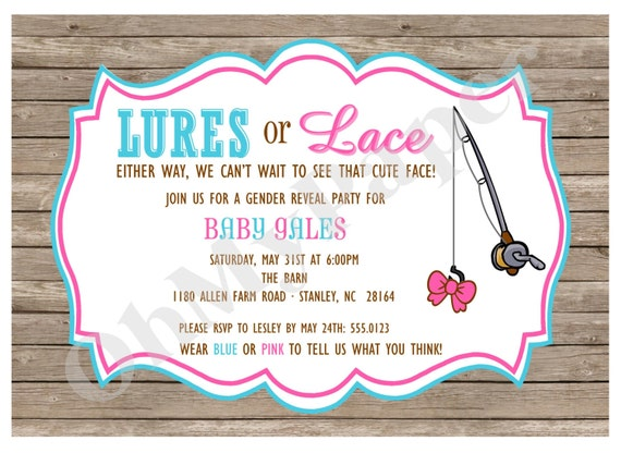 Items similar to gender reveal party invitations on etsy for Fishing gender reveal ideas