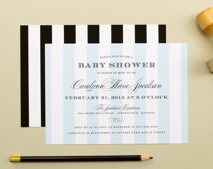 Baby Shower Invites, Striped Pattern Party Invite, Elegant Blue Shower Invitations, Personalized for Parties