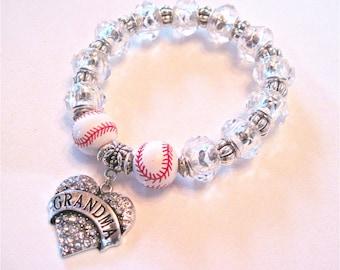 """Baseball Bracelet """" Baseball Grandma """" Love to show the spirit."""