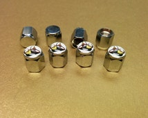 4 New Style Scat Pack  Dodge Mopar Plymouth Chrysler Chrome Plated Brass Valve Stem Caps - Domed Top - Very Nice