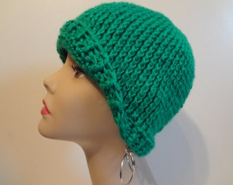 Kelly Green Irish Beanie - Ribbed Beanie - Crocheted Beanie Hat - Made in all Sizes-- Choose Your Favorite Colors
