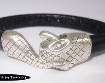 Leather Wrap Snake Bracelet - Black Regaliz Licorice Leather, Antique Silver Snake Clasp, Leather Cuff Bracelet