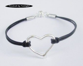 Silver Open Heart Leather Bracelet - Magnetic - Black Leather - Wrap - Bangle