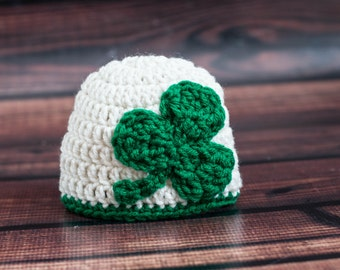 Crochet Irish Baby Hat with Large Kelly Green Shamrock Clover St. Patricks Day Parade Beanie