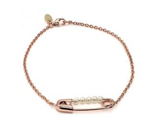 14K Gold Friendship Pin Bracelet, Safety Pin Bracelet, Gold Safety Pin Jewelry