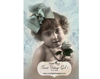 vintage girl digital collage sheet 5 x 7 single image vintage children printable photograph instant download craft image