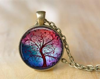 Tree Pendant Necklace, Tree of Life Necklace Jewelry Art Photo Print Pendant Wonderland Jewelry (045)