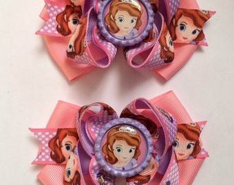 Sofia the first hair bow set