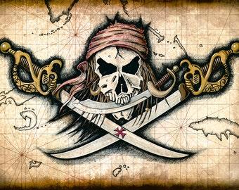 Chompers - Pirate Skull and Swords 11x17+, Pirate Artwork - Pirates - Jolly Rogers - Pirate Skull - Pirate Prints - Treasure Maps - Skulls