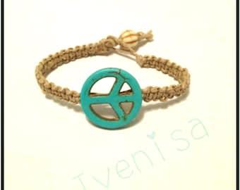 hemp bracelet. peace sign bracelet. macrame hadmade peace bracelet. handcrafted bracelet. peace sign bead.