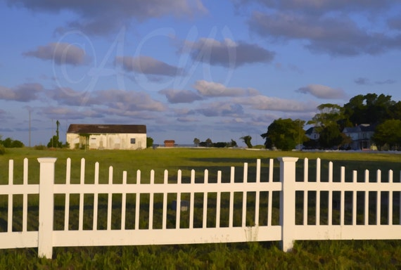 White Picket Fence in downtown Cape Charles Virginia (canvas)