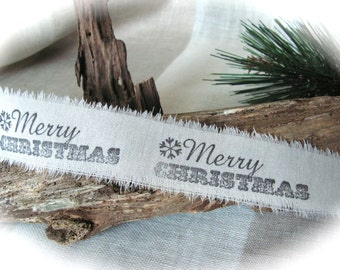 Gift Wrapping , Hand Stamped Fabric  Christmas  Ribbon 2,5 Yards.