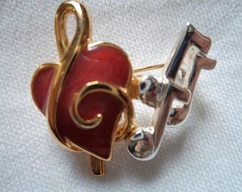 Vintage Signed Danecraft I Love Music Brooch/Pin