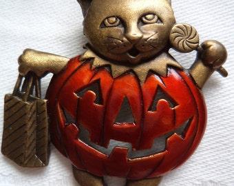 Vintage Signed JJ  Bronze pewter Pumpkin Cat Brooch/Pin