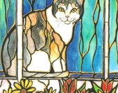 "Sweet CALICO Kitty Cat Windowsil Flowers Art 10""x8"" signed PRINT of Original unique Stained Glass Style"