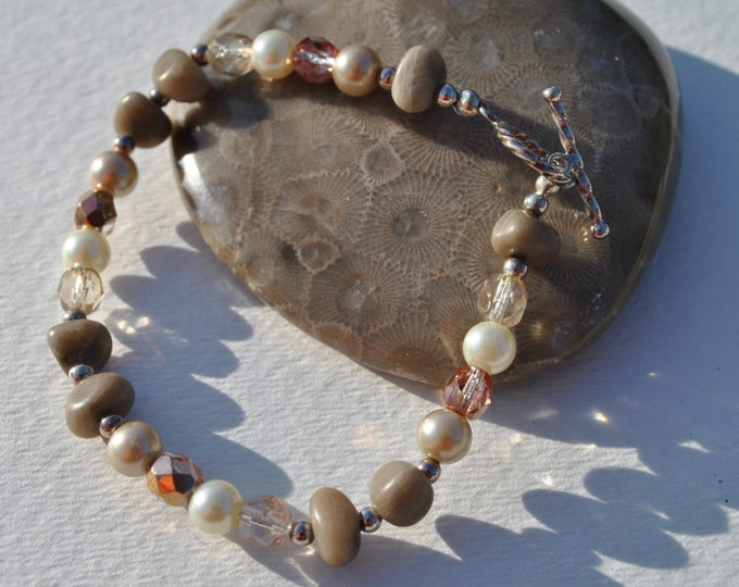 Petoskey Stone Bracelet set with Petoskey stone nuggets, crystals, sterling silver beads, and Swarovski pearls