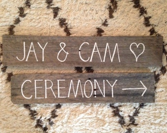 Package of Rustic Timber Signs Your Names plus Wedding Ceremony or Reception