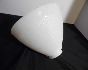 """Vintage Milk Glass Cone Shaped Lamp Shade, Waffle Pattern, 1.75"""" opening"""