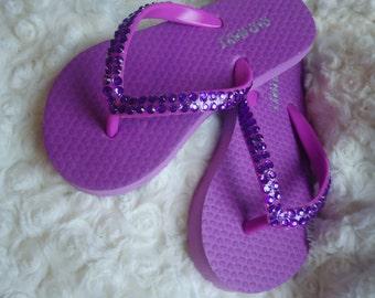 Girls Purple Crystal Flip Flops