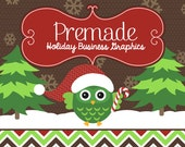 Christmas Owl Seasonal Etsy or Facebook Business Graphics