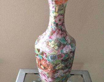 "Hand painted Oriental egg shell porcelain vase 10.5""  tall"