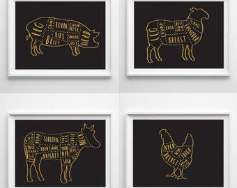 Set of A4 Butchers prints  - butcher chart - butcher diagram - meat cuts print - butcher poster