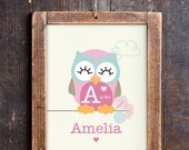 Cute Owl Name Print - Cute Owl Print for a Baby Girl's Nursery - Instant Download Wall Art - Print at Home