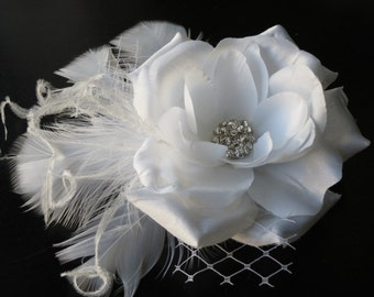 White Bridal Flower Hair Clip Wedding Accessory Crystals Feathers Bridal Fascinator Bridal Accessory